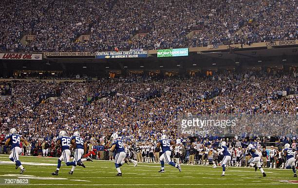 The Indianapolis Colts kick off against the New England Patriots in the first quarter of the AFC Championship Game on January 21 2007 at the RCA Dome...