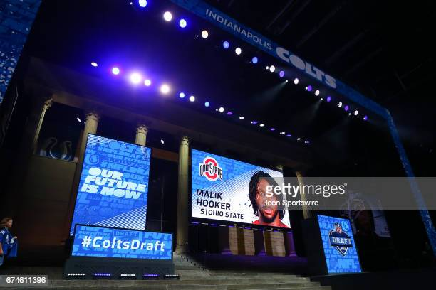 The Indianapolis Colts select Malik Hooker from Ohio State with the 15th pick at the 2017 NFL Draft at the NFL Draft Theater on April 27 2017 in...