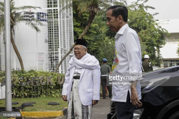 The Indonesia president candidate 2019 2024 Joko Widodo and Ma'ruf Amin arrive before taking a medical test at the Army Central Hospital in Jakarta...