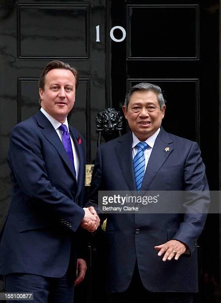 The Indonesian President Susilo Bambang Yudhoyono visits Prime Minister David Cameron at Number 10 Downing Street on November 1 2012 in London...