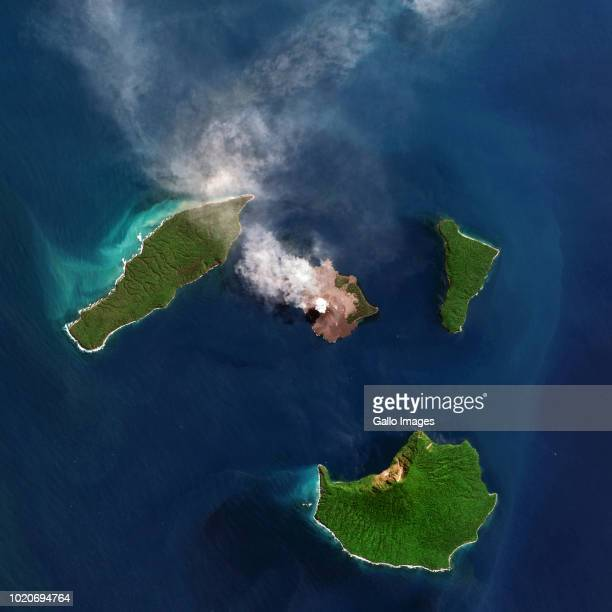 The Indonesian volcano Anak Krakatau is surrounded by a small group of islands and located in the Sunda Strait between Java and Sumatra