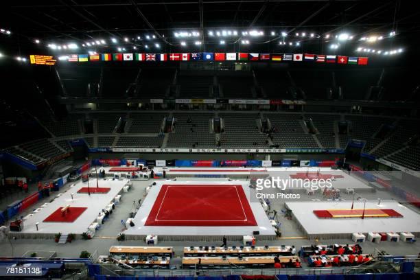 "The indoor scene of the National Indoor Stadium where holds the ""Good Luck Beijing"" Gymnastics International Invitational Tournament, is seen on..."
