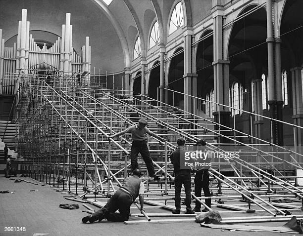 The indoor skirun under construction at the Alexandra Palace London for the International Winter Sports Exhibition