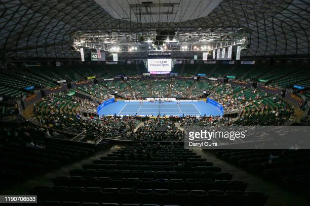 The indoor tennis court at the Hawaii Tennis Open played at the Stan Sheriff Center on December 28, 2019 in Honolulu, Hawaii.
