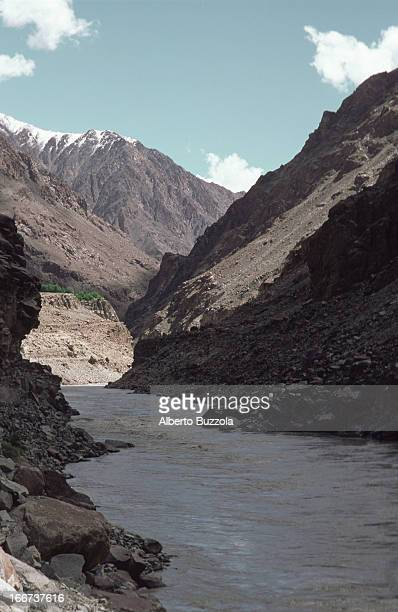 The Indus River amid dramatic mountain landscapes of the Brokpa valley