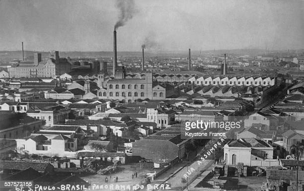 The industrial city of Sao Paulo, called the Manchester of Brazil, where are most of the factories, in Sao Paulo, Brazil, in 1929.