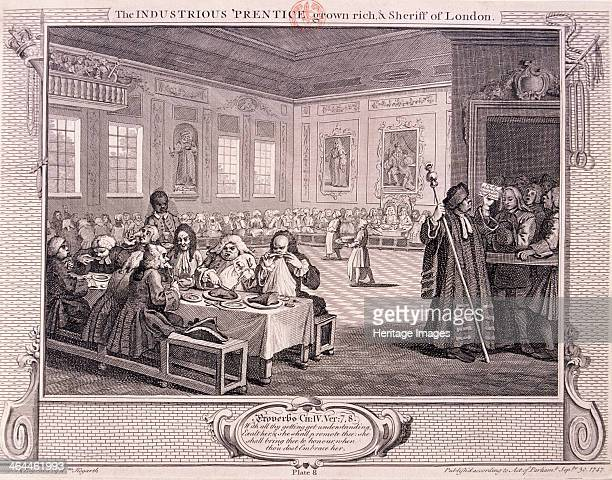 'The industrious 'prentice grown rich and sheriff of London' plate VIII of Industry and Idleness 1747 the scene is old Fishmongers Hall Hungry 'cits'...