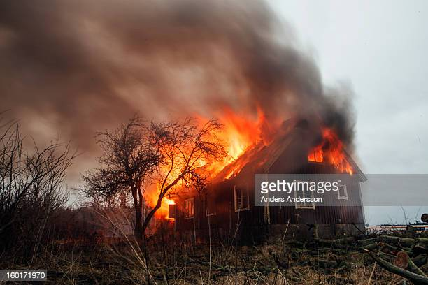 The infamous abandoned house at Vrangelsro,Halmstad, Sweden burnt to the ground on the 29th of November 2012 when the firebrigade used it for...