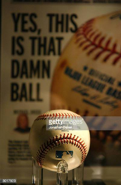 The infamous cursed Chicago Cubs foul baseball from the 2003 National League Championship Series against the Florida Marlins on display in it's last...