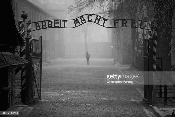 The infamous German inscription reads 'Work Makes Free' at the main gate of the Auschwitz I extermination camp on November 15 2014 in Oswiecim Poland...