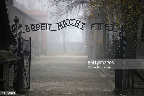 The infamous German inscription that reads 'Work Makes Free' at the main gate of the Auschwitz I extermination camp on November 15 2014 in Oswiecim...