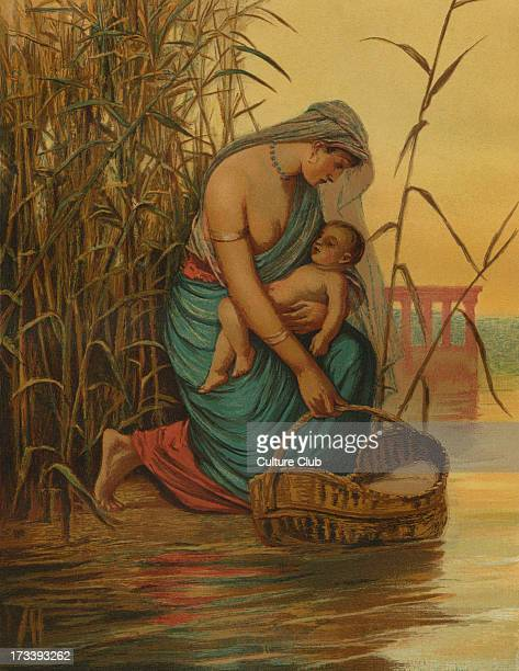 The infant moses and his mother Jochebed / Yocheved prepares to send Moses away down the Nile in a basket Illustration by Philip R Morris