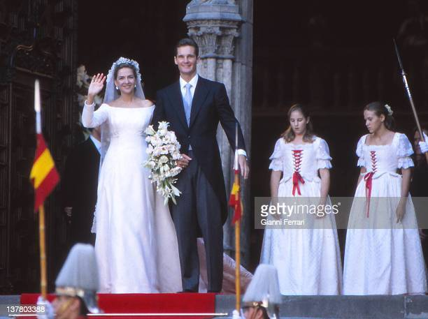 The Infanta Cristina and her husband Inaqui Urdargarin leave the church after their wedding 4th October 1997 Barcelona Spain