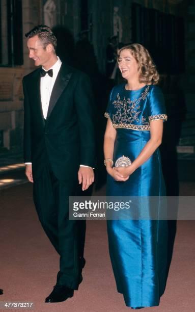 The Infanta Cristina and Inaqui Undargarin at a gala dinner the night before their wedding Third October 1997 Barcelona Catalonia Esoana