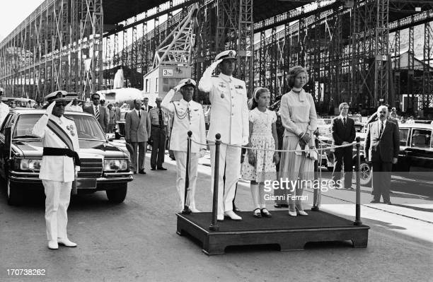 The Infanta Elena godmother of a boat: King Juan Carlos de Borbon, his daughter Infanta Elena and his wife Queen Sofia of Greece Malaga, Andalusia,...