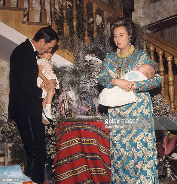 The Infanta Pilar de Borbon sister of Spanish King Juan Carlos of Borbon and her husband Luis Gomez Acebo Christmas Day along the children Simoneta...