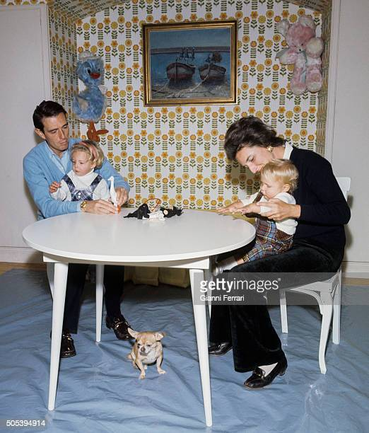 The Infanta Pilar de Borbon sister of Spanish King Juan Carlos of Borbon and her husband Luis Gomez Acebo along with their children Simoneta and Juan...