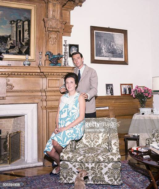 The Infanta Pilar sister of Spanish King Juan Carlos de Borbon and her husband Luis Gomez Acebo at her home in Somosaguas Pozuelo de Alarcon Madrid...