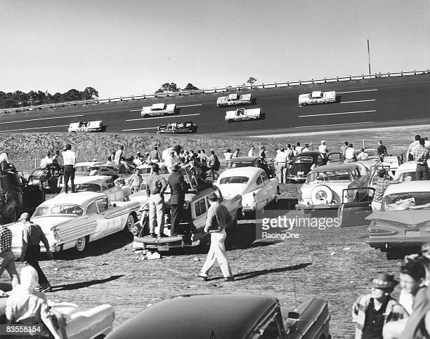 The infield view of the 1959 Daytona 500.