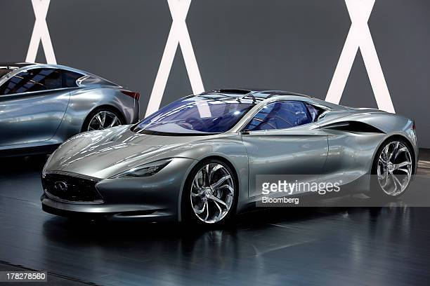 The Infiniti EMERGE electric sports concept vehicle is displayed during the Nissan Motor Co 360 event in Irvine California US on Tuesday Aug 27 2013...
