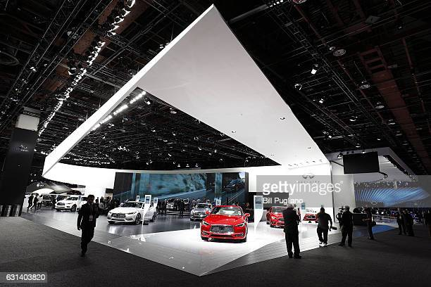 The Infiniti exhibit area is shown at the 2017 North American International Auto Show on January 10 2017 in Detroit Michigan Approximately 5000...