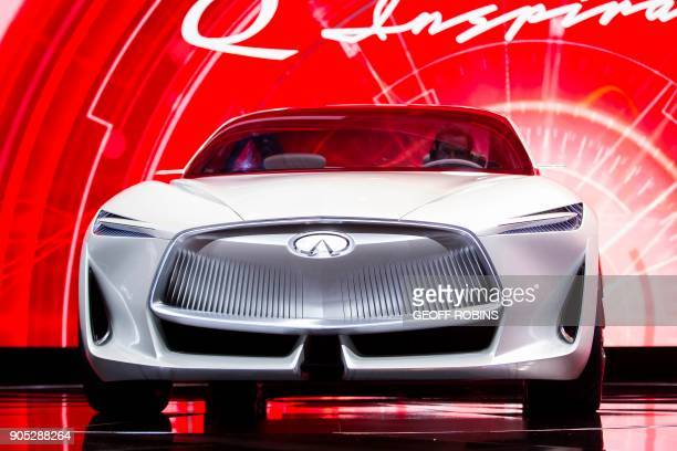The Infiniti Q Inspiration is unveiled during a press conference at the 2018 North American International Auto Show Press Preview in Detroit Michigan...