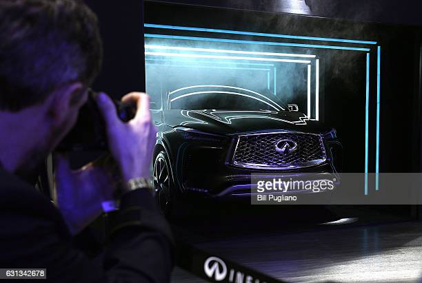 The Infiniti QX50 Concept midsize SUV is shown at its North American debut at the 2017 North American International Auto Show on January 9 2017 in...