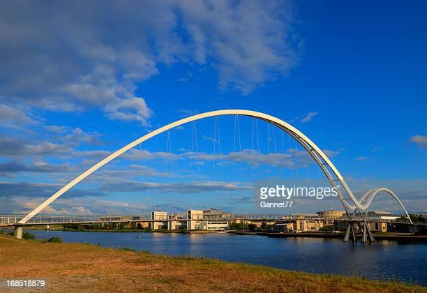 the infinity bridge in stockton-on-tees, england - stockton on tees stock pictures, royalty-free photos & images