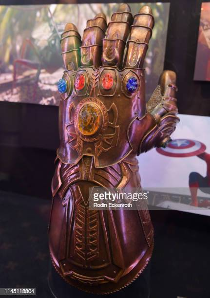 The Infinity Gauntlet on display at the Marvel Studios's Avengers Endgame opening day marathon event at El Capitan Theatre on April 25 2019 in Los...