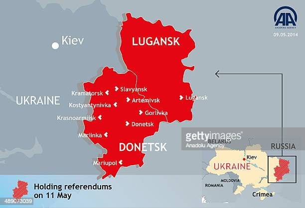 The infographic shows the Eastern Ukraine referendum map