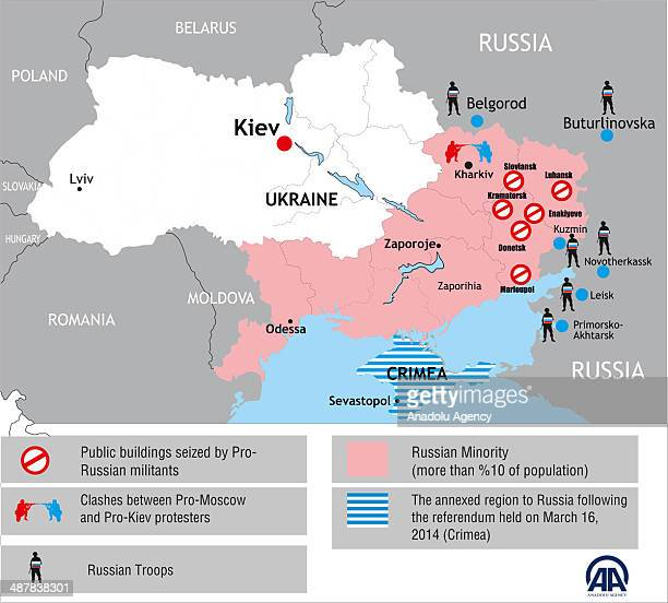 The Infographic shows the latest situation in Ukraine on map