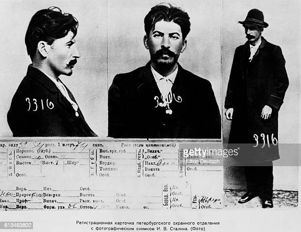 The information card on Joseph Stalin from the files of the Tsarist secret police in St Petersburg