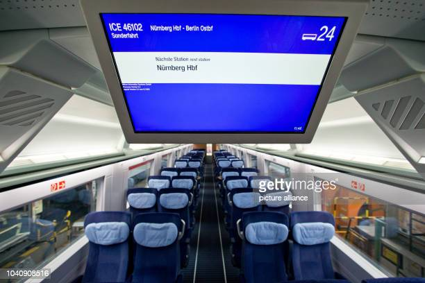 The information screen is pictured in a modernized ICE2 train owned by German Railways at DB's maintenance factory in Nuremberg Germany 12 July 2013...