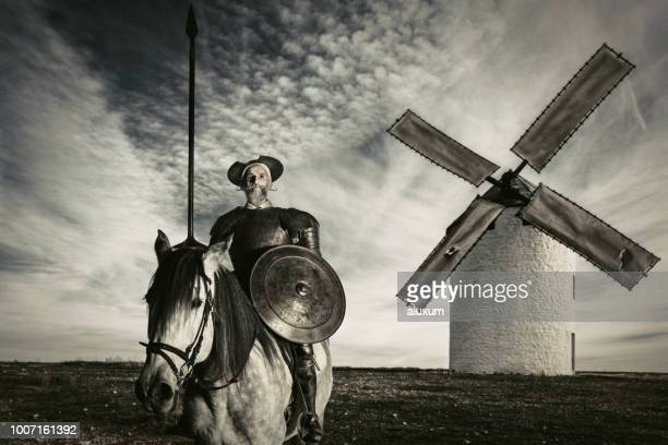 the ingenious gentleman don quixote of la mancha - traditional windmill stock photos and pictures