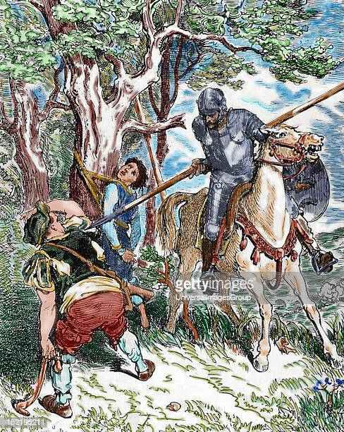 The Ingenious Hidalgo Don Quixote of La Mancha by Spanish writer Miguel de Cervantes Scene with Don Quixote Pisan engraving of a drawing by Gustave...