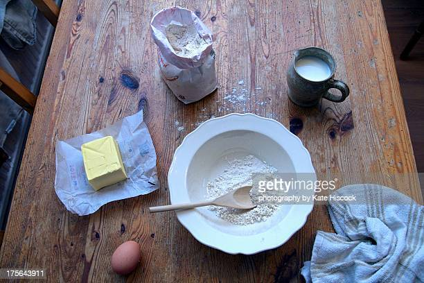 the ingredients for pancakes - pancake day stock pictures, royalty-free photos & images