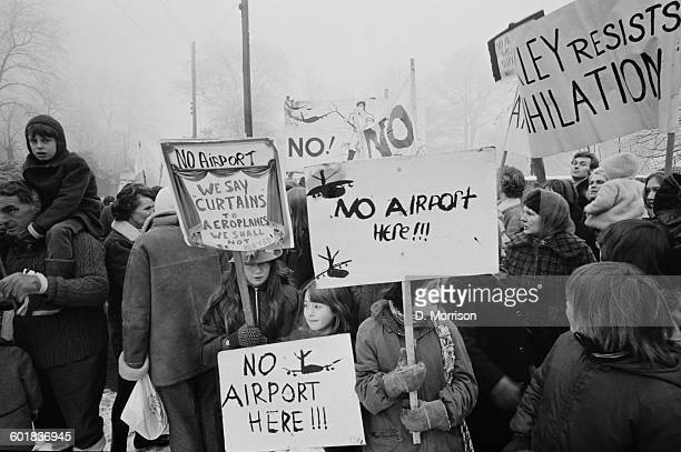 The inhabitants of Stewkley in Buckinghamshire England protest against the destruction of their village to make way for a third London airport 3rd...