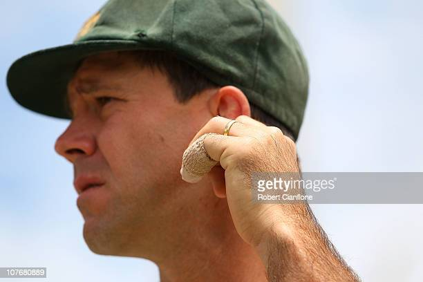 The injured finger of Australian captain Ricky Ponting is seen after Australia defeated England on day four of the Third Ashes Test match between...
