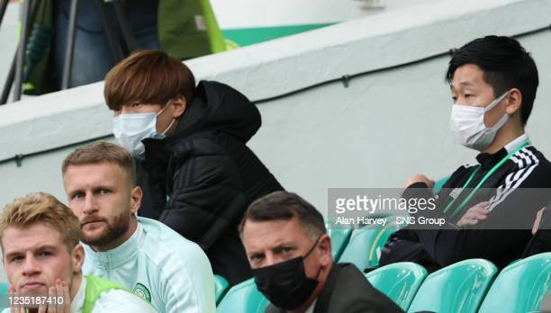 The Injured Kyogo Furuhashi during a cinch Premiership match between Celtic and Ross County at Celtic Park on September 11 in Glasgow, Scotland