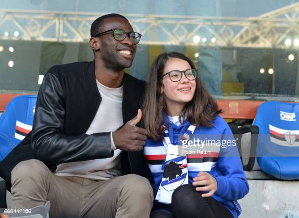 The injured player Pedro Obiang of West Ham in the stands to see the Serie A match between UC Sampdoria and ACF Fiorentina at Stadio Luigi Ferraris...