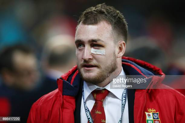 The injured Stuart Hogg of the Lions looks on prior to kickoff during the 2017 British Irish Lions tour match between the Highlanders and the British...