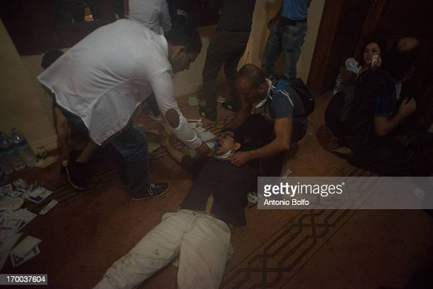 The injured were taken to the mosque in Besiktas during the fighting between protestors and Istanbul police to reach the Prime Minister's building...
