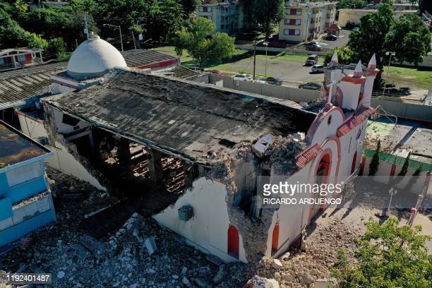 The Inmaculada Concepcion church, built in 1841, is seen partially collapsed after an earthquake hit the island in Guayanilla, Puerto Rico on January...