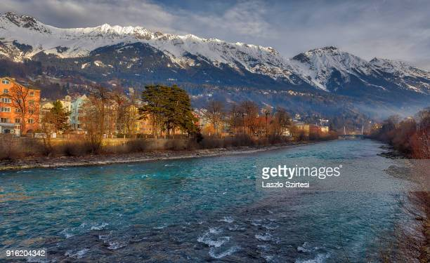 The Inn river is seen from the Inn Brücke on January 28 2018 in Innsbruck Austria