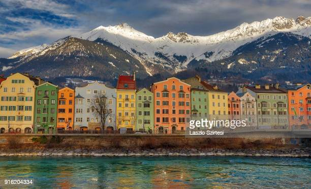 The Inn river's riverside is seen from the Inn Brücke on January 28 2018 in Innsbruck Austria