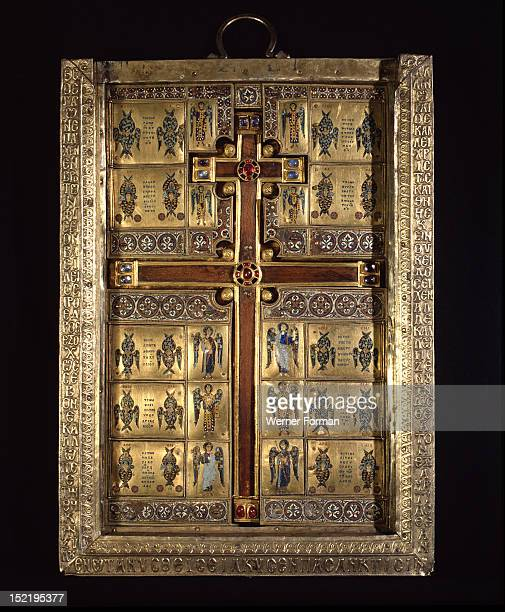 The inner compartment of the reliquary of the True Cross one of the richest most elaborate ensembles of Byzantine enamels to have survived the sack...