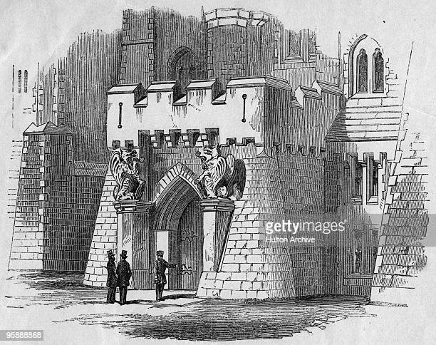 The inner gate of Holloway Prison in London circa 1850 Published in 'The Criminal Prisons of London' a compilation of articles entitled 'The Great...