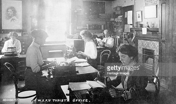 The inner office, Clement's Inn, The Strand, September 1911. Run by the General Office Manager, Miss Kerr, seen at her desk in the top right-hand...