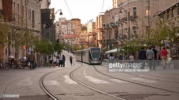The innovative light rail twist through longstanding and enchanting Jerusalem. Taken in Jaffa street, Jerusalem, Israel.