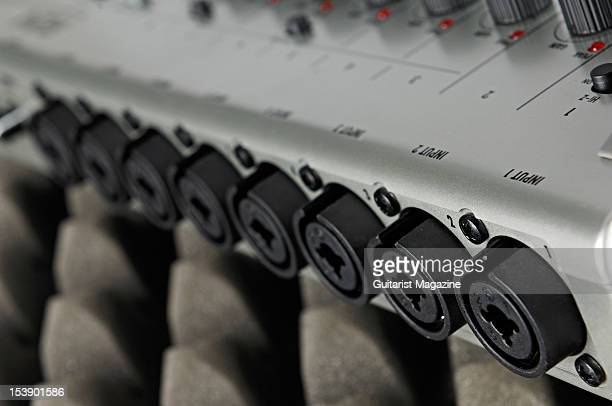 The inputs of a Zoom R24 24track HD recording device during a studio shoot for Guitarist Magazine November 18 2010